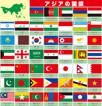 Various national flags Flag of Asia