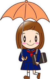 Going to school with an umbrella