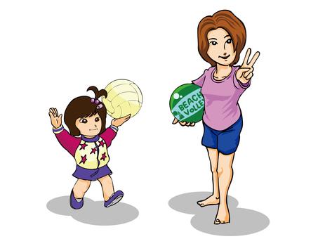 沙灘排球和女兒支持媽媽的母親