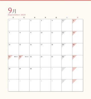 Simple calendar September 2020