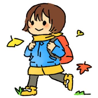Nana picking autumn leaves
