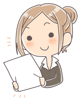 A woman checking documents