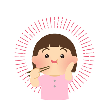 Illustration of a girl who eats delicious food