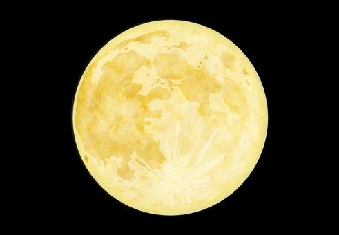 夜空に浮かぶ黄色い満月