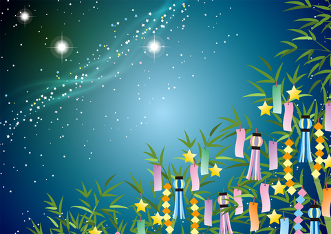 Illustration Milky Way and Tanabata Ornament