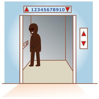 Suspicious person in elevator