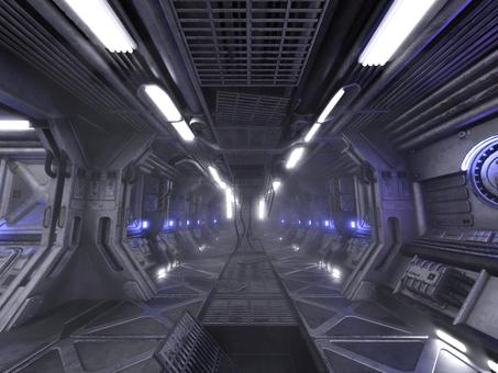 明るい事故後の宇宙船内の通路(強靄付き)