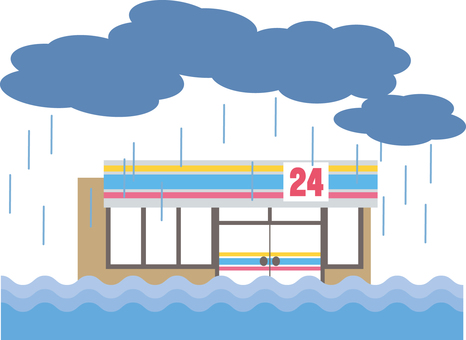 Convenience store (pouring down)