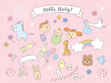 Decoration material_handwriting_childbirth1