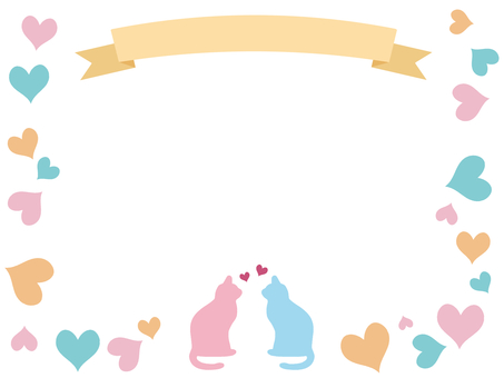 Ribbon and cat frame Heart