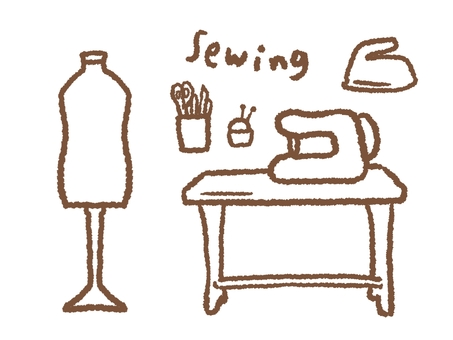Sewing set line drawing