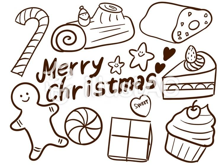 クリスマススイーツぬりえイラスト No 1330293無料イラストなら