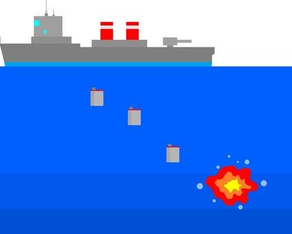 Torpedo boat dropping bombs