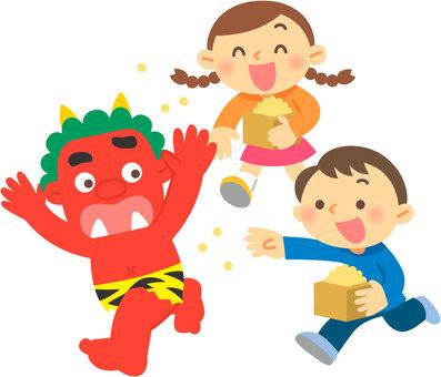 Children who do bean-maki