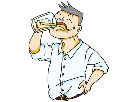 Man drinking beer with hands on hips