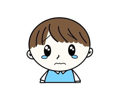 Crying blue dressed boy illustration 1