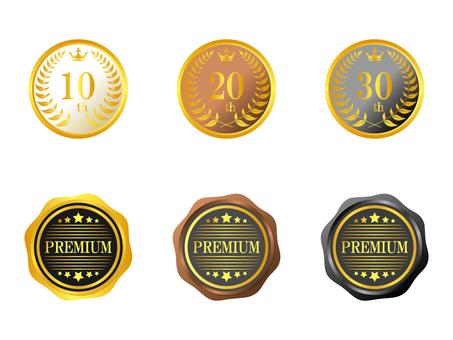 Medal 6 point set gold tea black white