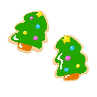 Christmas tree shaped icing cookies