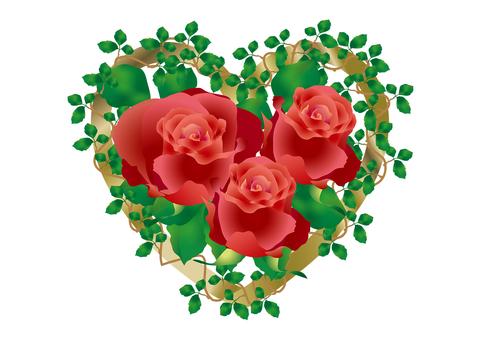 Gold Heart & Rose Flower 2