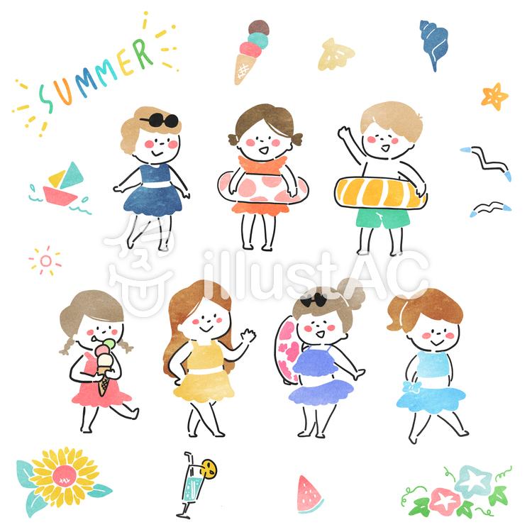 夏 子供のイラスト