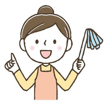 漂亮的女人/家庭主婦/家務清潔