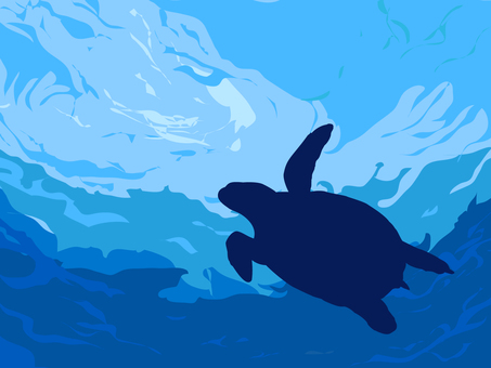 Turtle swimming in the cut sea