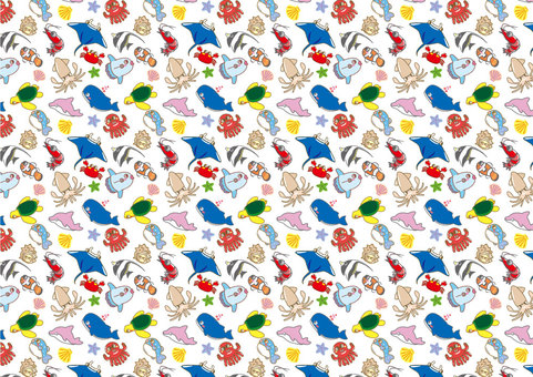 A collection of cute sea creatures pattern 01