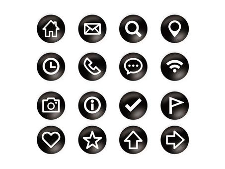Button style icon set (black)