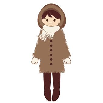 女性堅決穿著寒冷的天氣