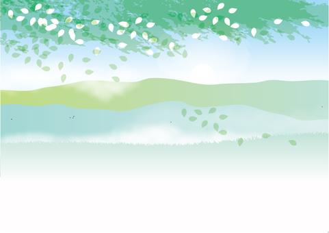 新鮮的綠色山
