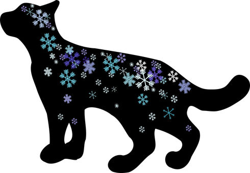 Nyanko silhouette. Snow Crystals