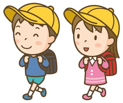 Elementary school students go to school