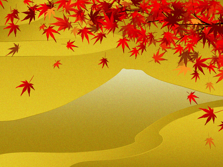 Mt. Fuji and autumnal leaves of autumn leaves
