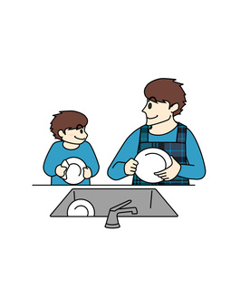 Dish-washing: parent-child