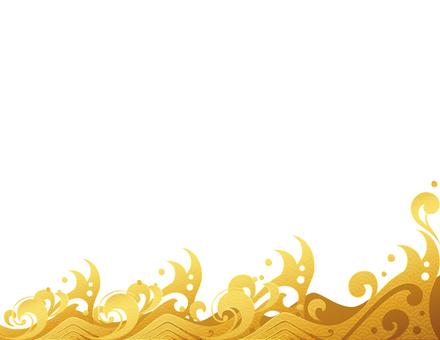 金の波の和風なフレーム_白
