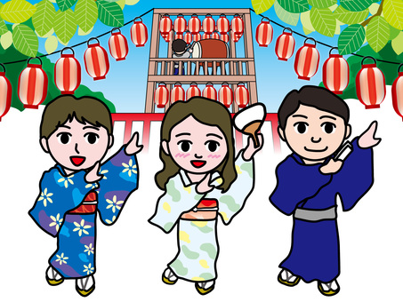 Bon dance with yukata (1) Summer noon