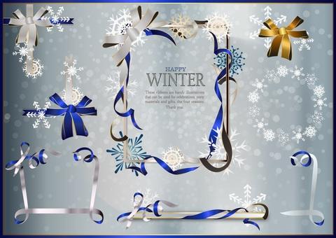 Frame design: winter ribbon set