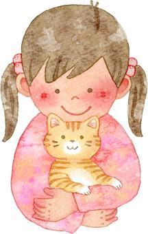 猫を抱く女の子 上半身 ピンク