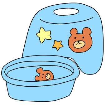 Children's chair in the bathroom and Tarai for boys