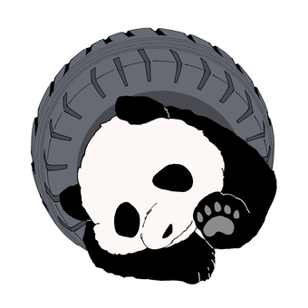 Panda caught on the tire (front)