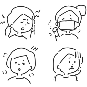 Illness, person, illustration set