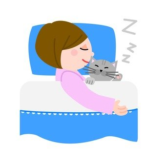 A woman sleeping with a cat