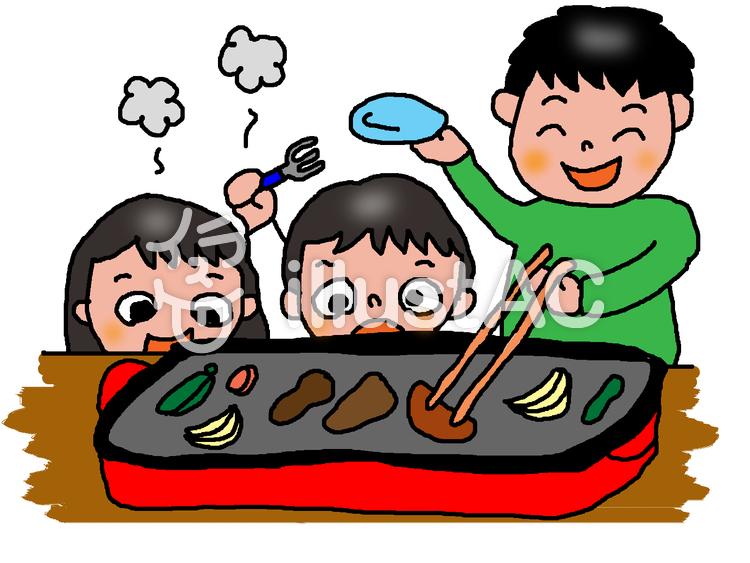 ホットプレートで焼肉を食べてる家族イラスト No 542732無料
