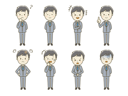 A man in a suit with various expressions