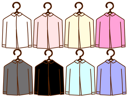 Y shirts on colorful hangers