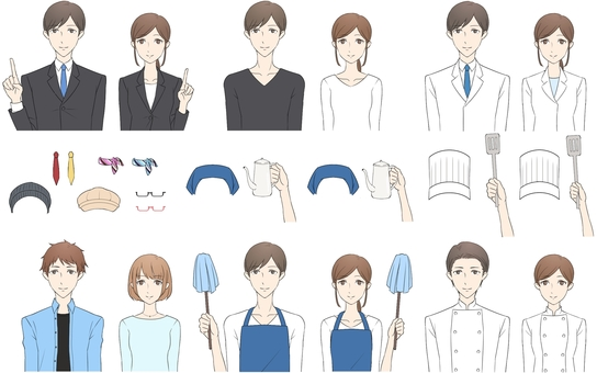 Character variation set (various occupations)