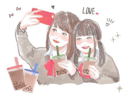 Tapioca milk tea and JK set