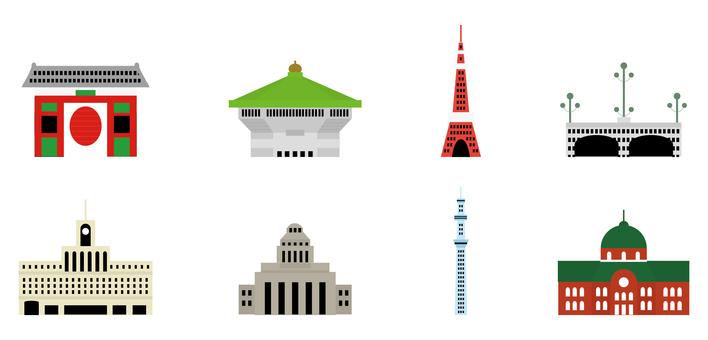 도쿄 관광지 아이콘 세트