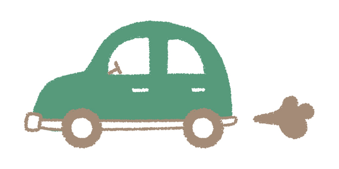 Hand-drawn car _ green