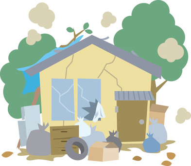 Garbage house disaster house illustration